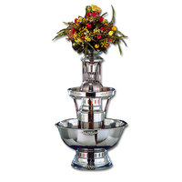 Apex 4008-SS Royal Princess 5 Gallon 3 Tier Stainless Steel Beverage Fountain with Inflow Spigots, Silver Bow Tie Trim, and Waterfall Set