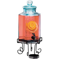 Cal-Mil 1111 2 Gallon Octagonal Glass Beverage Dispenser with Wire Base and Ice Chamber
