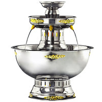 Apex 4003-GT Princess 5 Gallon SS Beverage Fountain with Gold Bow Tie Trim & Floral Cup