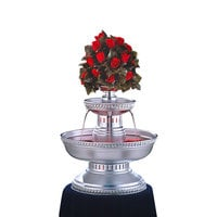Apex 3001-ST Maitre'd 5 Gallon Silver Aluminum Beverage Fountain with Silver Rope Trim & Floral Cup