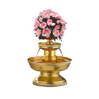 Apex 3002-GT Maitre'd 5 Gallon Gold Aluminum Beverage Fountain with Gold Trim & Floral Cup