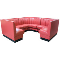 American Tables & Seating AS-4812-3/4 12 Channel Back Upholstered Corner Booth 3/4 Circle - 48 inch High