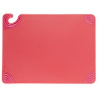 San Jamar CBG152012RD 15 inch x 20 inch x 1/2 inch Saf-T-Grip Red Cutting Board with Hook