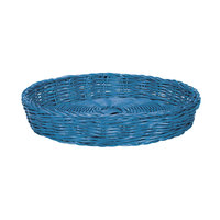 Tablecraft HM1169BL 12 inch x 2 inch Blue Round Rattan Basket - 6/Pack