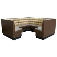 American Tables & Seating AS-48HO-1/2 1/2 Circle Horizontal Channel Back Corner Booth - 48 inch High