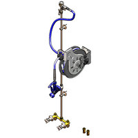 T&S B-1453 35' Open Epoxy Coated Hose Reel Assembly with Exposed Piping and Accessories
