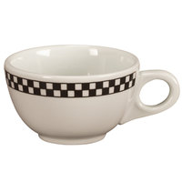 Homer Laughlin Black Checkers 7.75 oz. Creamy White / Off White China Boston Cup - 36/Case