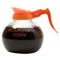 Curtis 70280200406 Glass Decaf Coffee Decanter with Orange Text, Orange Imprint, and Decaf Only Logo - 24/Case