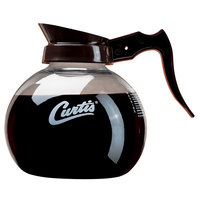 Curtis 70280100206 Glass Coffee Decanter with Brown Handle, White Imprint, and Printed Instructions - 24/Case