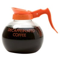 Curtis 70280200403 Glass Decaf Coffee Decanter with Orange Text, Orange Imprint, and Decaf Only Logo