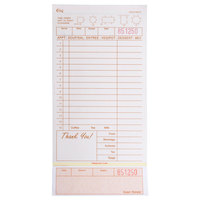 Choice 3 Part Tan and White Carbonless Guest Check with Beverage Lines and Bottom Guest Receipt - 250/Pack