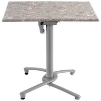 Grosfillex US809109 Aluminum Tilt Top Outdoor Table Base 100 - Silver Gray