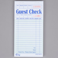 Choice 1 Part Green and White Paper Guest Check with Top Guest Receipt - 10/Pack