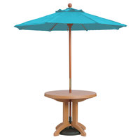 Grosfillex 98943131 7' Turquoise Market Umbrella with 1 1/2 inch Wooden Pole