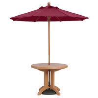 Grosfillex 98942731 7' Burgundy Market Umbrella with 1 1/2 inch Wooden Pole