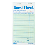 Choice 2 Part Green and White Carbonless Guest Check - 10 Books / Pack
