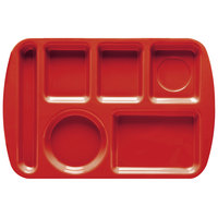 GET TL-151 Red Melamine 9 1/2 inch x 14 3/4 inch Left Hand 6 Compartment Tray - 12/Pack