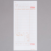 Choice 1 Part Tan and White Guest Check with Beverage Lines and Bottom Guest Receipt - 250/Pack