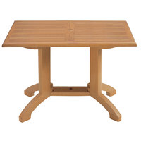 Grosfillex US240808 Winston 48 inch x 32 inch Teak Decor Rectangular Molded Melamine Pedestal Table with Umbrella Hole