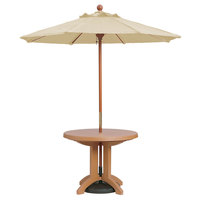Grosfillex 98940331 7' Khaki Market Umbrella with 1 1/2 inch Wooden Pole