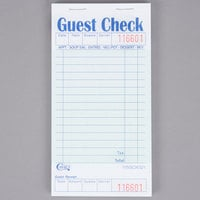 Choice 1 Part Green and White Guest Check with Bottom Guest Receipt - 10/Pack