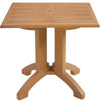 Grosfillex US240208 Winston 32 inch x 32 inch Teak Decor Square Molded Melamine Pedestal Table with Umbrella Hole