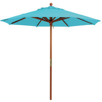 Grosfillex 98913131 9' Turquoise Market Umbrella with 1 1/2 inch Wooden Pole