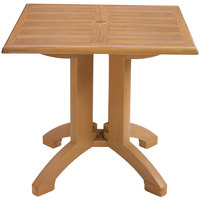 Grosfillex US420408 Winston 36 inch x 36 inch Teak Decor Square Molded Melamine Pedestal Table with Umbrella Hole