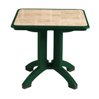 Grosfillex US701078 Siena 32 inch x 32 inch Square Resin Folding Table with Umbrella Hole - Amazon Green