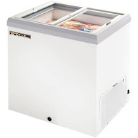 True TFM-29FL White Flat Glass Lid Horizontal Freezer - 6.3 cu. ft.