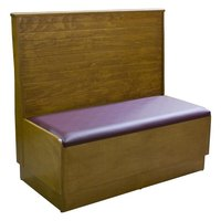 American Tables & Seating AS42-WBB-PS Bead Board Back Platform Seat Single Wood Booth - 42 inch High