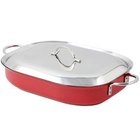 Bon Chef 60023CFCLD Classic Country French 5 Qt. Red French Oven with Lid, Handles, and Induction Bottom - 15 inch x 11 inch x 2 7/8 inch