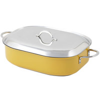 Bon Chef 60004CFCLD Classic Country French 7 Qt. Yellow French Oven with Lid, Handles, and Induction Bottom - 15 inch x 11 inch x 4 inch