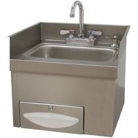 Advance Tabco 7-PS-42 Countertop 18 inch x 18 inch x 16 inch Hand Sink with Deck Mounted Faucet, Paper Towel Dispenser, and Soap Dispenser