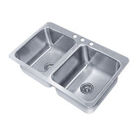 Advance Tabco SS-2-3321-12 Smart Series Double Bowl Drop In Sink - 14 inch x 16 inch x 12 inch Bowls