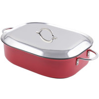 Bon Chef 60004CFCLD Classic Country French 7 Qt. Red French Oven with Lid, Handles, and Induction Bottom - 15 inch x 11 inch x 4 inch