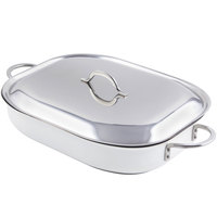Bon Chef 60023CFCLD Classic Country French 5 Qt. White French Oven with Lid, Handles, and Induction Bottom - 15 inch x 11 inch x 2 7/8 inch
