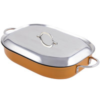 Bon Chef 60023CFCLD Cucina Classic Country French 5 Qt. Orange Oblong Pan with Lid, Handles, and Induction Bottom - 15 inch x 11 inch x 2 7/8 inch