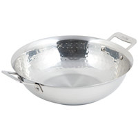 Bon Chef 60014HF Cucina 10 inch Hammered Finish Stainless Steel Stir Fry Pan with 2 Side Handles