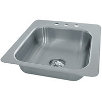 Advance Tabco SS-1-1919-12 Smart Series Single Bowl Drop In Sink - 16 inch x 14 inch x 12 inch Bowl