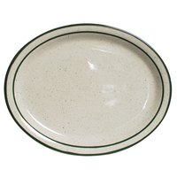 Tuxton TES-012 Emerald 9 1/2 inch x 7 1/2 inch Green Speckle Narrow Rim Oval China Platter - 24/Case