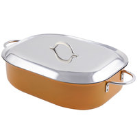 Bon Chef 60004CFCLD Classic Country French 7 Qt. Orange French Oven with Lid, Handles, and Induction Bottom - 15 inch x 11 inch x 4 inch