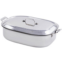 Bon Chef 60004HF Cucina 7 Qt. Hammered Finish Stainless Steel French Oven with Lid and Handles - 15 inch x 11 inch x 4 inch