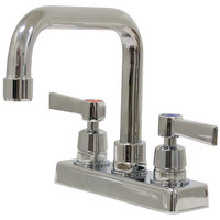 Advance Tabco K-124 Deck Mounted Faucet with 6 inch Extended D Nozzle, 4 inch Centers, 1 GPM Aerator, and Lever Handles