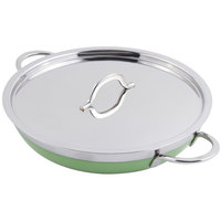 Bon Chef 60305 Classic Country French Collection 2 Qt. 12 oz. Green Saute Pan / Skillet with Cover and Double Handles
