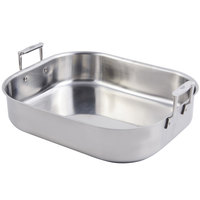 Bon Chef 60010CLD Cucina 10 Qt. Stainless Steel Roasting Pan with Handles and Induction Bottom - 16 1/2 inch x 14 1/4 inch x 4 inch