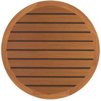Grosfillex 99831108 30 inch Teak Decor Round Molded Melamine Outdoor Table Top