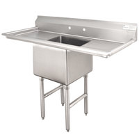 Advance Tabco FC-1-1824-18RL One Compartment Stainless Steel Commercial Sink with Two Drainboards - 54 inch