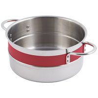 Bon Chef 62302NC Classic Country French Collection 4.3 Qt. Red Single Wall 1/2 Color Pot with Riveted Handles