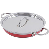 Bon Chef 60306 Classic Country French Collection 3 Qt. 4 oz. Red Saute Pan / Skillet with Cover and Double Handles